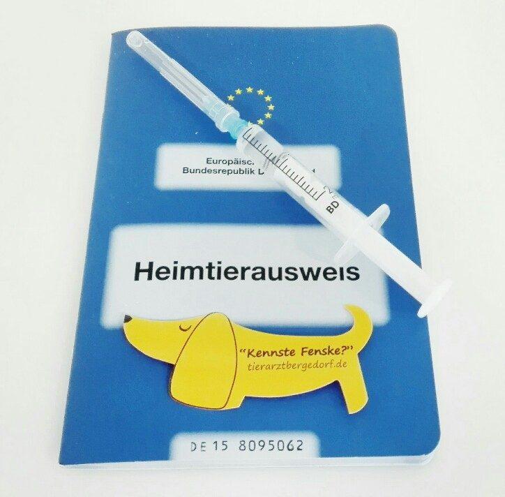 Impfleitlinien-Heimtierausweis mit Injektionsspritze und Kennste Fenske Aufkleber